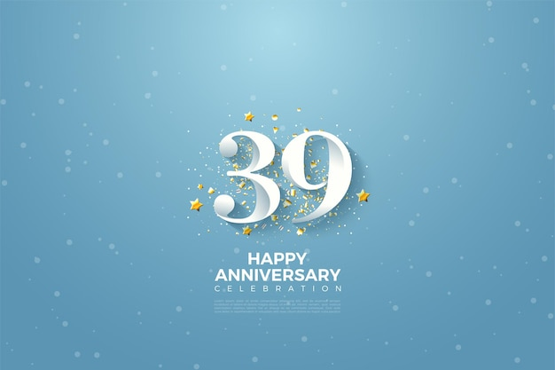 39e anniversaire avec des chiffres sur fond de ciel bleu