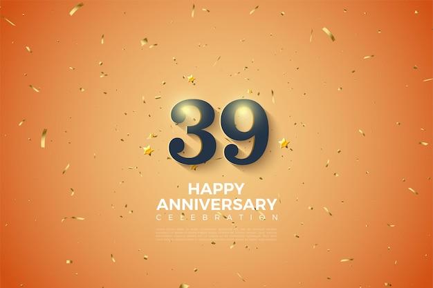 39e anniversaire avec des chiffres ombragés en blanc doux