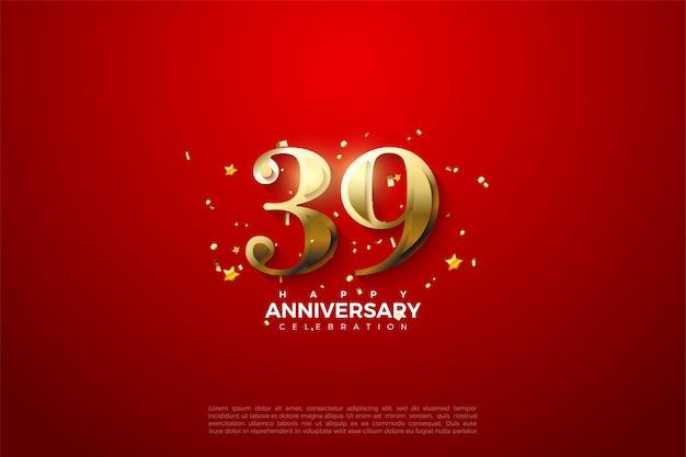 39e anniversaire avec des chiffres en or sur fond rouge