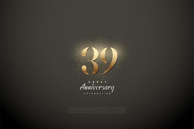 39e anniversaire avec des chiffres et des points d'or