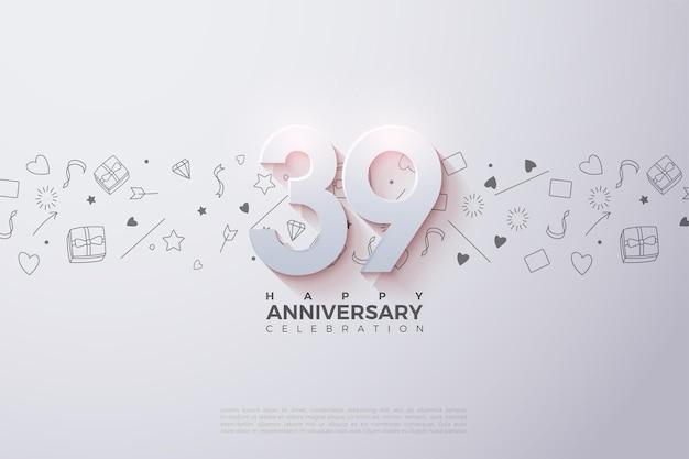 39e anniversaire avec chiffres en relief