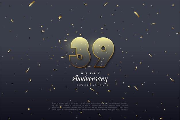 39e anniversaire avec des chiffres transparents bordés