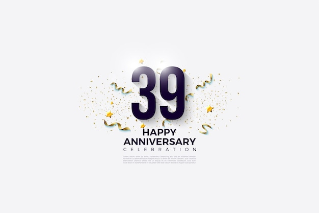 39e anniversaire avec un fond clair