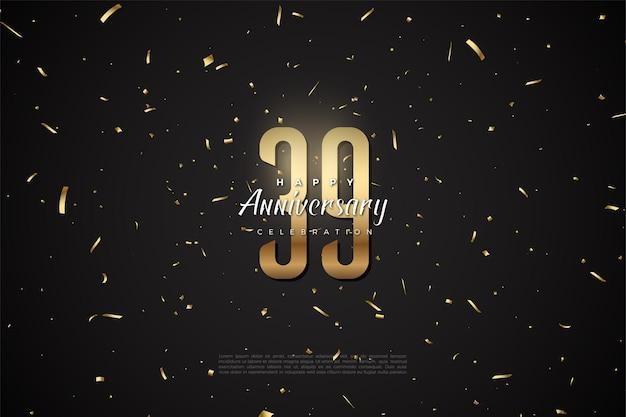 39e anniversaire avec des nombres dans l'espace