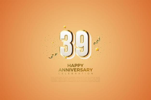 39e anniversaire avec des numéros de design modernes
