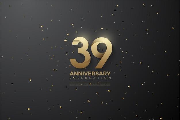 39e anniversaire avec des numéros à motifs spéciaux