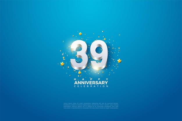39e anniversaire avec revêtement en chiffres argentés