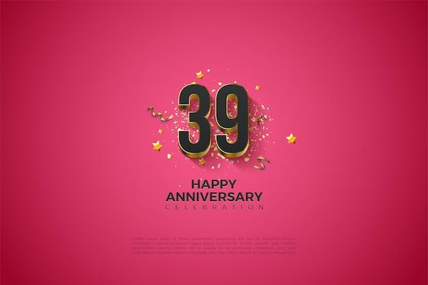 39e anniversaire avec revêtement de chiffres en or massif