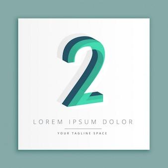 3d abstrait logo de style avec le numéro 2