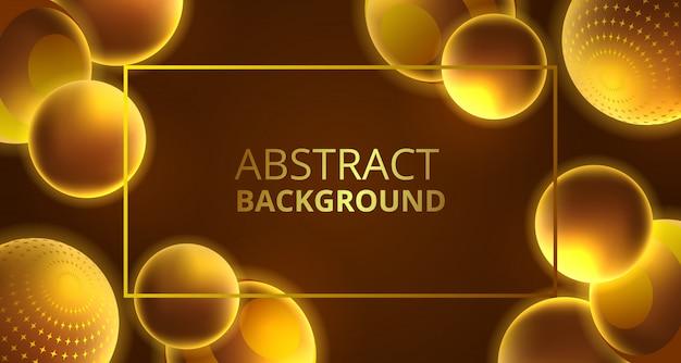 3d abstrait lueur dorée sphère décoration abstrait
