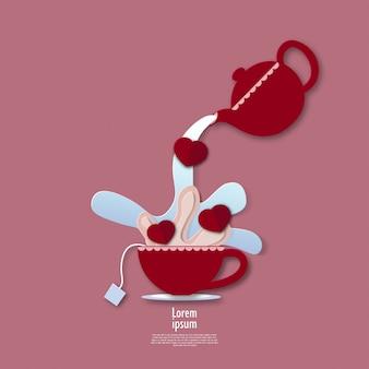 3d abstrait de tasse de thé de la saint-valentin avec conception de formes découpées en papier pour des présentations commerciales, des dépliants, des affiches