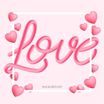 3d amour lettrage fond, illustration vectorielle