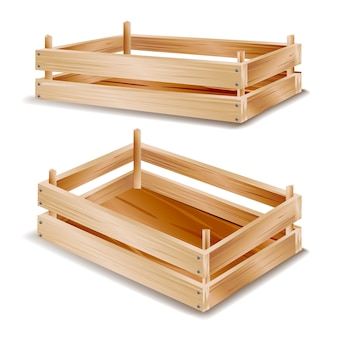 3d boîte en bois