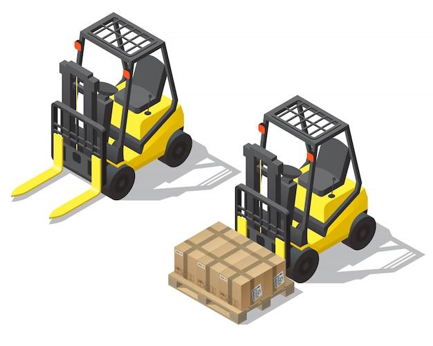 3d chariot élévateur isométrique pour le stockage, entrepôt