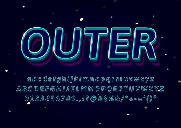 3d contour police texte effet logo sport boutique titre