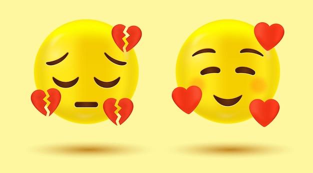 3d emoji coeur brisé avec émoticône d'amour