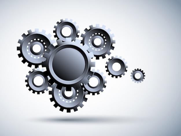3d engrenage en métal, illustration de haute technologie, ingénierie, télécommunications numériques, concept de technologie sur fond bleu.
