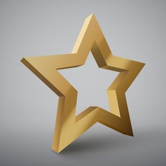 3d étoile d'or isolée.