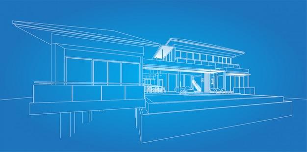 3d filaire du bâtiment. conception de croquis.vecteur