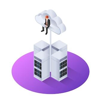 3d homme d'affaires isométrique avec ordinateur portable assis sur un nuage
