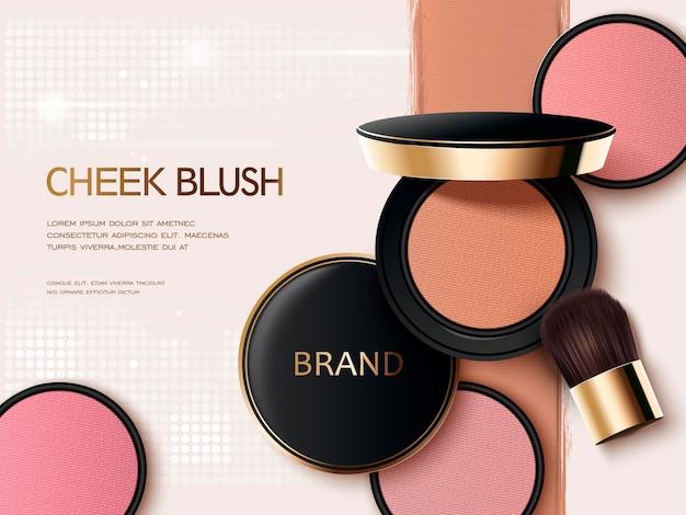 3d illustration blush compact avec sa texture colorée sur le fond