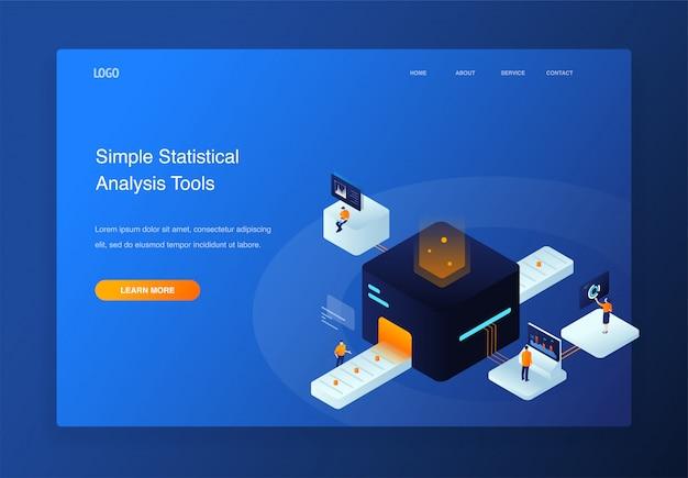 3d illustration isométrique personnes en interaction avec camembert, analyse de données, page de destination
