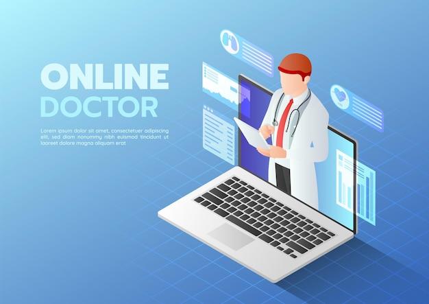 3d isométrique web banner doctor faisant un diagnostic en ligne sur l'écran de l'ordinateur portable. concept de consultation médicale en ligne.