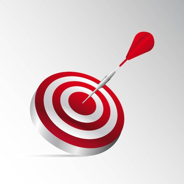 3d jeu de fléchettes avec une fléchette rouge avec illustration vectorielle ombre