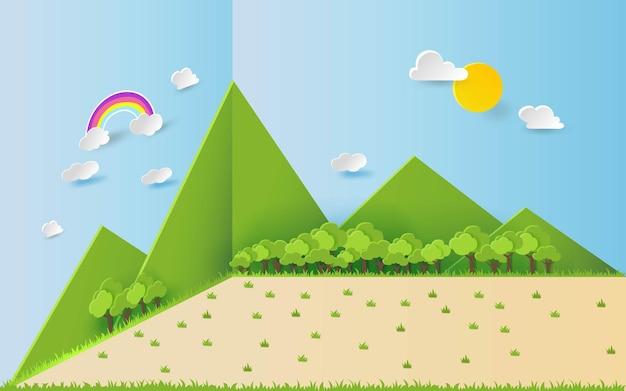 3d landspace concept design art artisanal coloré style papier découpé illustration vectorielle eps10