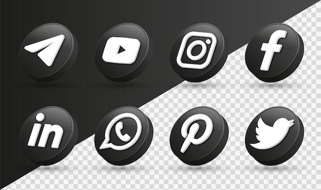 3d logos d'icônes de médias sociaux dans l'icône de réseautage instagram facebook cercle noir moderne