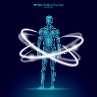 3d low poly corps humain affichage hud médecin en ligne. technologie future