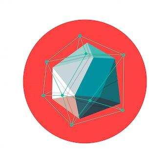 3d low poly forme géométrique abstraite polygonale sur le rouge