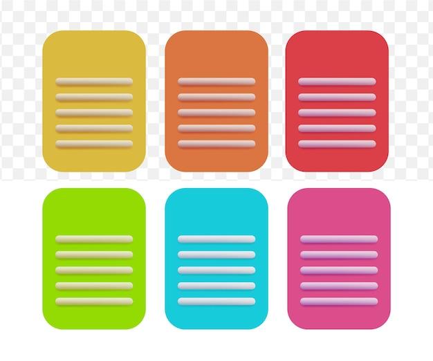 3d note copie écriture jeu d'icônes de style cartoon sur fond transparent