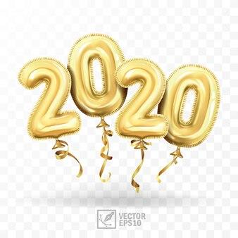 3d réaliste isolé avec des boules de gel d'or en tant que numéros deux mille vingt ballons