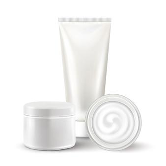 3d réaliste isolé de cosmétiques blancs
