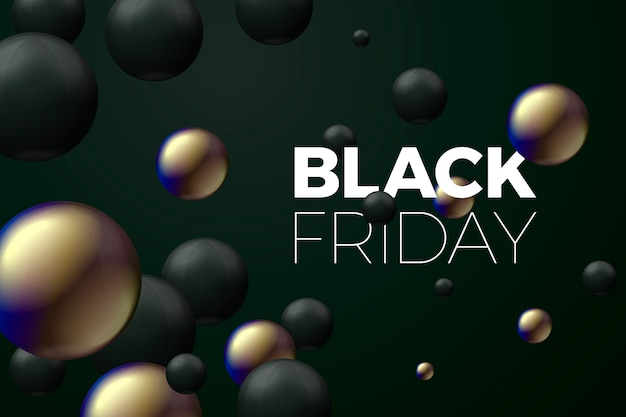 3d réaliste noir vendredi vente bannière boules noires et dorées. dans le noir