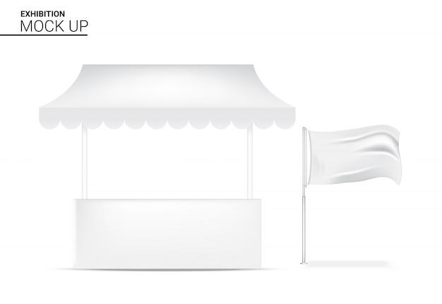 3d réaliste stand affichage pop pour boutique vente marketing promotion exposition avec drapeau bannière modèle fond illustration