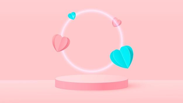 3d render of pink love valentine illustration de la scène pastel