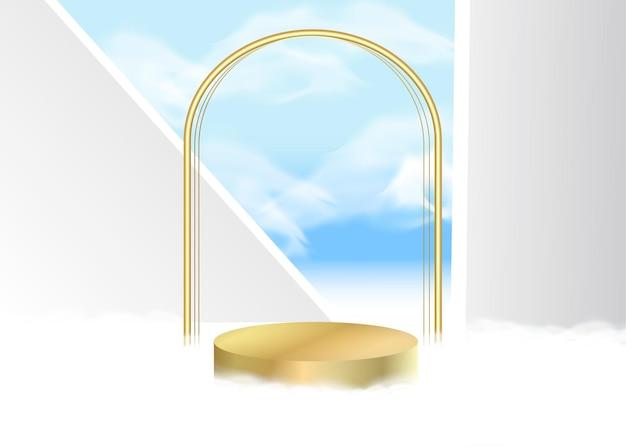3d vecteur affichage abstrait avec ciel bleu sur le mur blanc nuages blancs