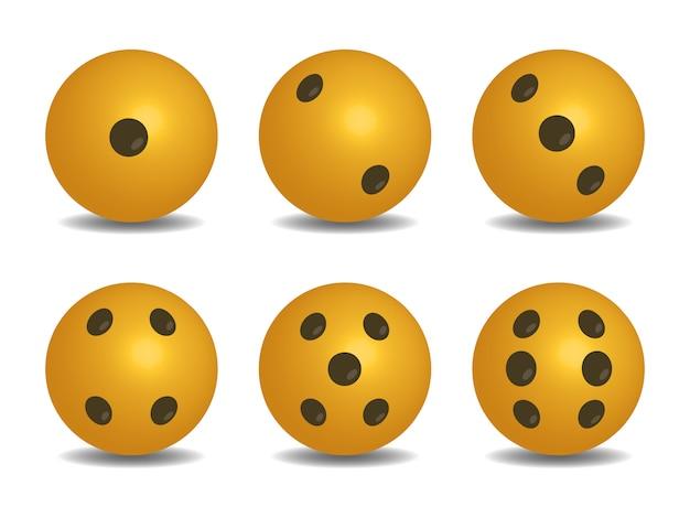 3d dés vecteur de couleur jaune