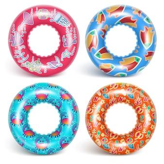 4 anneaux gonflables avec un motif.