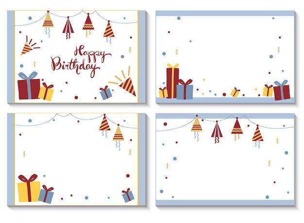 4 cartes postales pour joyeux anniversaire.