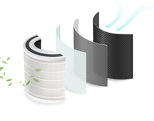 4 couches de filtres à air propres et de matériaux désinfectants. filtrez la pollution, les virus, les bactéries, les pm2,5, la poussière, le climatiseur de voiture. système de purification de l'air à l'abri du virus corona. fichier réaliste.