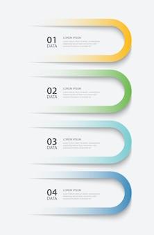 4 données infographie onglet papier modèle d'index illustration abstrait