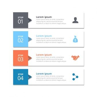 4 étapes d'infographie avec ciel gris blye orange et bleu
