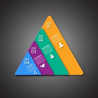 4 étapes d'infographie avec des couleurs magenta et bleu jaune vert