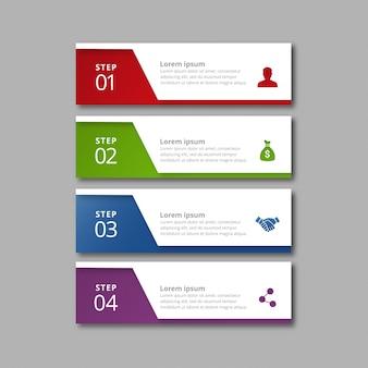 4 étapes d'infographie avec des couleurs rouge-vert bleu et violet