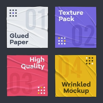 4 feuilles de papier carrées colorées froissées froissées mal collées