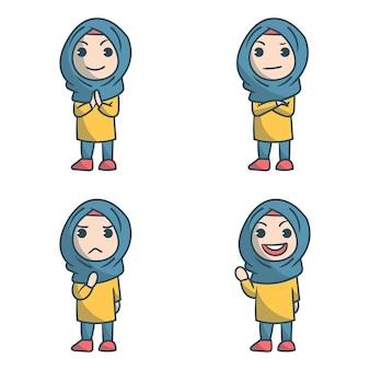 4 hijab girl set personnage