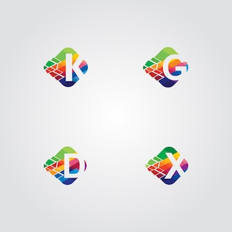 4 initials logo pack